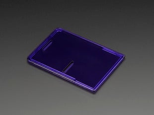 Angled shot of purple acrylic Raspberry Pi case lid.