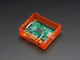 Angled shot of orange Raspberry Pi Model A+ Case without lid.