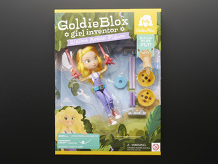 Goldie Blox Action Figure with Zipline outer packaing