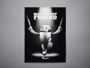 Make Robot Friend Poster featuring ADABOT holding hands with two humans