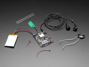 Adafruit FONA Shield Starter Pack with battery, antenna, speaker and headset