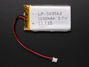 Lithium Ion Polymer Battery 3.7v 1200mAh with JST 2-PH connector