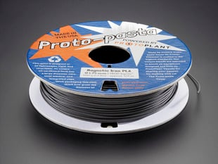 Spool of Proto-Pasta magnetic iron filament for 3D Printers - black color with 1.75mm Diameter.