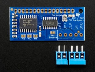 i2c / SPI character LCD backpack PCB with loose terminal blocks