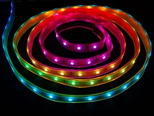 Coiled LED strip with each LED a different rainbow color