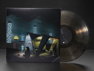 """album cover of Infinity Shred - """"Long Distance Adafruit Edition"""" with translucent black record disc half-pulled out."""