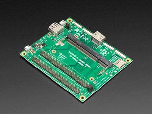 Angled shot of large Raspberry Pi Compute Module I/O Board.