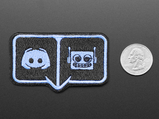 Rectangularish embroidered badge with Discord and Adafruit friendly robot logos in light blue over a black background, outlined in light blue.