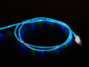 USB Micro B Cable with LEDs - Blue and Green color - 1 Meter