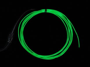 High Brightness Green Electroluminescent (EL) Wire - 2.5 meters