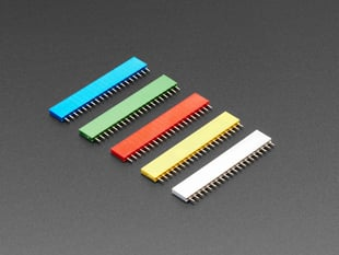 """20-pin 0.1"""" Female Headers - Rainbow Color Mix - 5 pack"""