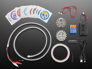 Top view shot of Adafruit + Cartoon Network Cosplay Basics Kit contents