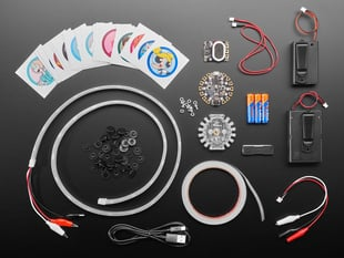 """Top view shot of a Adafruit + Cartoon Network Cosplay """"The Works"""" Kit contents"""