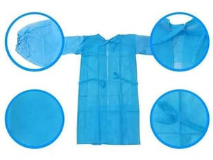Blue personal protection gown laying flat with additional close up shots focusing on the sleeves, neck, and material.