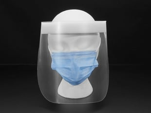 Head on shot of the face shield on a mannequin head. Shield starts at the forehead and ends below the chine