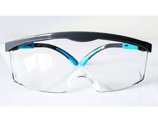 Protective glasses with black and blue frames