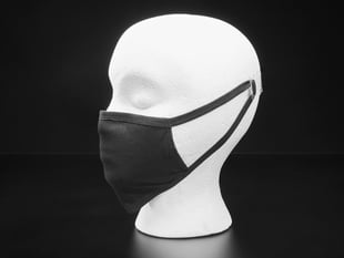 Black cloth face mask shown on a mannequin