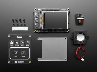 ESP32-S2 Kaluga Dev Kit featuring ESP32-S2 WROVER with TFT screen module, capacitive touch pads, speaker, camera and hardware.