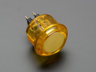 Angled shot of a translucent yellow round 30mm arcade button.