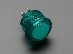 Angled shot of a translucent green round 30mm arcade button.