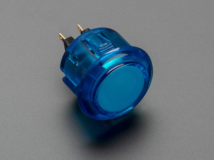 Angled shot of a translucent blue round 30mm arcade button.