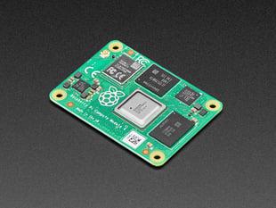 Angled shot of Raspberry Pi 4 compute module.