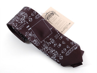 "Circuit board necktie ""Resistor"" - Black with silver ink, narrow"