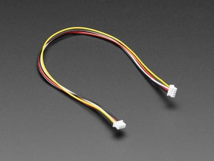 Angled shot of 1.25mm pitch 20cm long 4-pin cable.