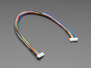 Angled shot of 20cm long 1.25mm pitch 8-pin cable.