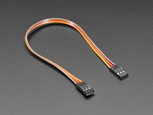 Angled shot of 20cm long 3-pin 2.54mm pitch jumper cable.
