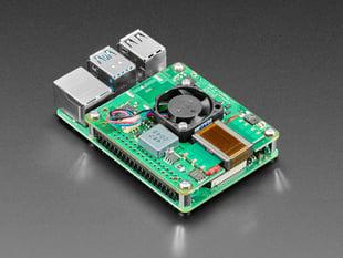 Angled shot of Raspberry Pi PoE HAT on a Raspberry Pi 4.