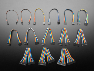 Top view of several different kinds of 2.54mm pitch Molex PicoBlades as jumper wires.
