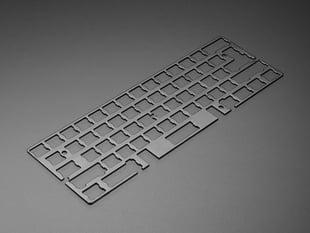 Angled shot of Black Anodized Aluminum Metal Keyboard Plate.