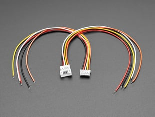 Angled shot of two 2.0mm pitch 5-pin matching cable pairs. The cables are not connected.