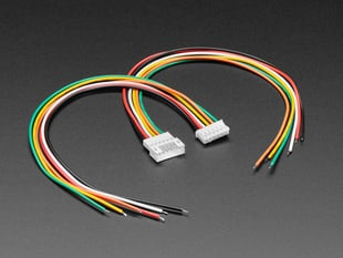 Angled shot of two separate JST-PH 2.00mm Pitch 6-pin Matching Pair Cables - 40cm long.