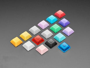 Array of many different colored keycaps