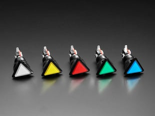 Angled shot of five triangle-shaped LED pushbuttons in white, yellow, red, green, and blue.