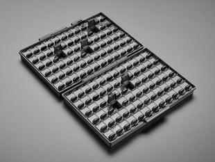 Angled shot of black SMD storage box opened up.