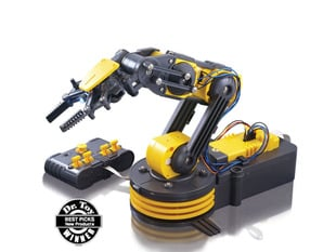 Yellow robotic arm with 3 joints and a wired controller.