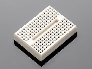 Angled shot of tiny breadboard.