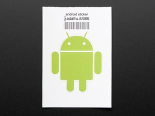 Circular sticker with Android's chartreuse robot logo on white background. Mounted on white paper with barcode