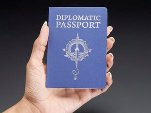 Hand holding up Hacker space passport