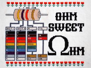 Adafruit Ohm Sweet Ohm Cross-Stitch Kit with resistor decoding diagram