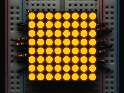 "Small 1.2"" 8x8 Ultra Bright Yellow-Orange LED Matrix."