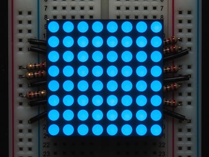 "Small 1.2"" 8x8 Ultra Bright Blue LED Matrix."