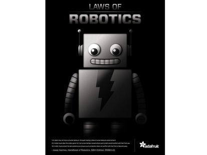 3 Laws of Robotics poster featuring a friendly robot