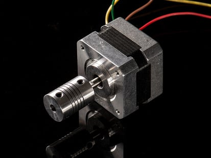 Aluminum Flex Shaft Coupler attached to stepper motor