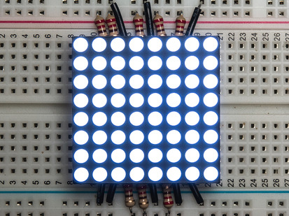 "Small 1.2"" 8x8 Ultra Bright White LED Matrix."