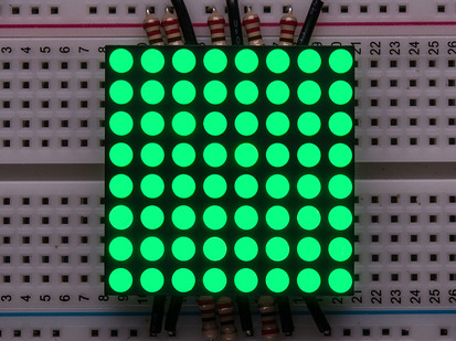 "Small 1.2"" 8x8 Ultra Bright Pure Green LED Matrix."