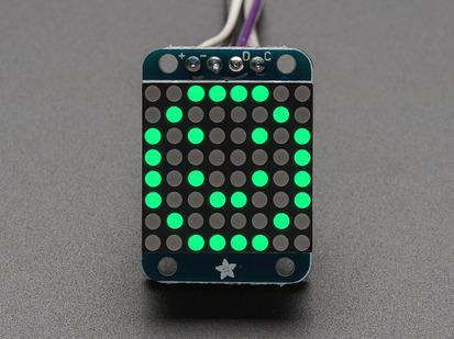 Adafruit Mini 8x8 LED matrix w/I2C Backpack- Pure Green.